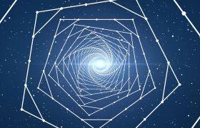 VJ素材-白色粒子线条连线三维空间几何隧道穿梭大气舞台夜场视频素材
