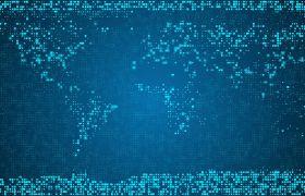 粒子光效-藍色科技粒子斑點拼合消失世界金融點創意視頻合成素材