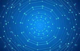 光線素材-數字跳動粒子連線擴散創意環形波紋舞臺演出背景視頻素材
