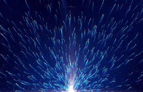 粒子光效-蓝色粒子拖尾游动无缝循环动态科技风舞台背景合成视频素材