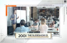 時間軸模板-創意科技感圖文時間線軸一次展示公司企業包裝片頭模板Timeline Slideshow