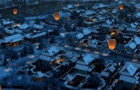 重阳节素材-卡通古韵中国风唯美夜景重阳节孔明灯宣传开场视频素材