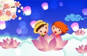 重阳节素材-可爱卡通小人孔明灯温馨重阳合成视频素材