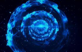 晚會素材-藍色科技螺旋波紋擴散大氣科幻晚會合成視頻素材