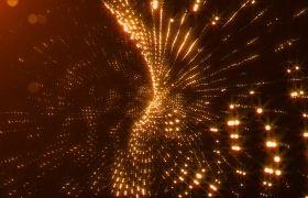 晚會素材-4K金色粒子線條三維螺旋旋轉動態玄幻夢幻大氣舞臺背景視頻素材