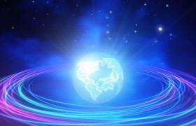 晚會素材-唯美多彩光波紋路科技星球旋轉動態演繹晚會舞臺背景視頻素材