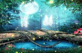 晚会素材-梦幻精灵森林皎洁月光蝴蝶飞舞古典晚会背景视频素材