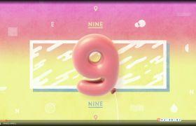 倒计时素材-可爱卡通欢乐晚会演出十秒倒计时视频背景素材