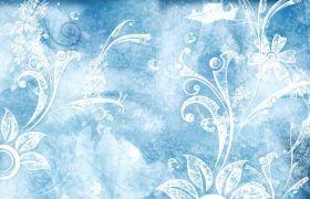自然元素-冰晶花纹浪漫雪花花瓣飘舞自然风景背景视频素材