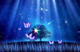 晚會素材-浪漫藍色星空蝴蝶飛舞律動感舞會背景視頻素材