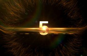 倒計時素材-金色數字5S倒計時有請主持人震感開場背景視頻素材