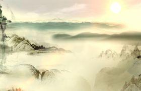 古風素材-中國風古典水墨畫山河日下俯瞰高清背景視頻素材