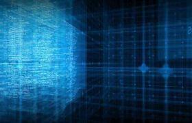 科技素材-蓝色高端科技空间代码数据光效背景视频素材