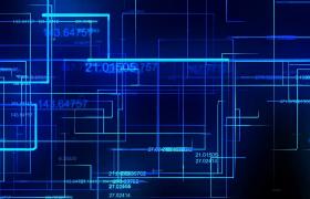 科技素材-藍色酷炫高科技數據金融動態背景視頻素材