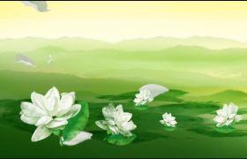 晚會素材-古風花傘茉莉花中國風元素墨跡舞臺背景素材