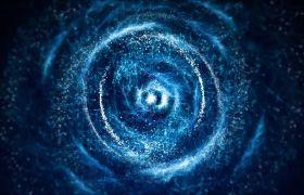 宇宙星空-银河中心蓝色粒子星云太空超高清视频背景
