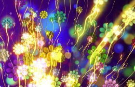 植物素材-奇幻梦幻花朵光效视觉缤纷晚会背景视频素材