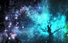 星空素材-浩瀚粒子星空凤凰飞天震撼舞台开场视频素材