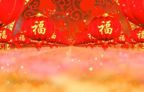 节日素材-红色喜庆新年新春福字灯笼背景视频素材