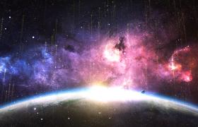 舞臺背景-震撼宇宙星空光線粒子上升企業年會活動背景視頻素材