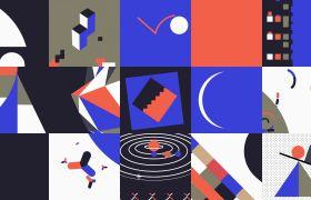 动画素材-创意彩色灵感MG动画视频组合背景素材