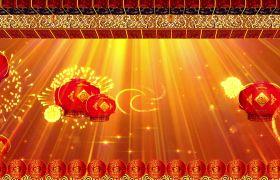 节日素材-喜庆大气福字边框灯笼节日演出视频开场背景素材