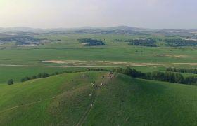 自然風光-俯視角度下遼闊清新自然草原風光背景素材