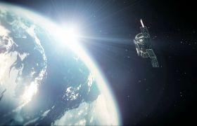 星空卫星-科技卫星环绕地球展示互联网企业片头背景视频
