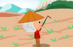 卡通人物生活-风和日丽下农民锄禾卡通场景视频背景素材