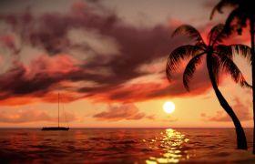 自然风光素材-唯美夕阳下海边风光抒情浪漫舞台视频背景素材