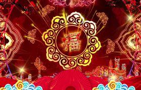 节日素材-金光四射迎福字喜庆节日视频LED舞台背景素材