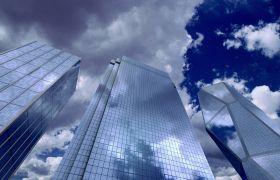 城市建筑-仰拍实拍蓝天白云玻璃大厦高清背景视频素材