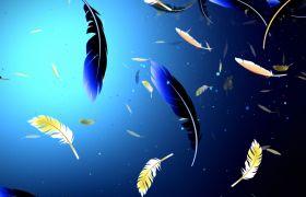 舞台素材-唯美七彩羽毛飘落创意led开场舞台背景素材