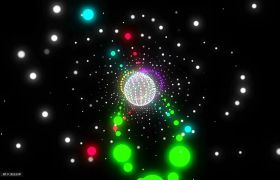 酒吧素材-绚丽彩色圆球动感快节奏舞台背景视频素材