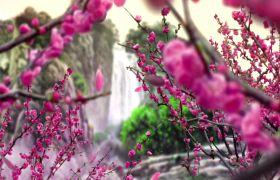 自然風光-中國風世外桃源瀑布典美舞臺背景視頻素材
