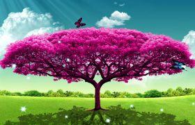 舞台素材-清新典美大树晚会开场盛世花开背景视频素材