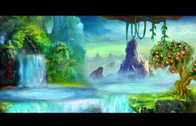 舞台素材-清新唯美风景花果山水帘洞仙鹤飞舞舞台视频背景