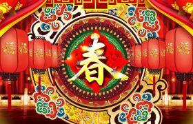 节日素材-喜庆民族风中式特色春节字帖闪动视频背景