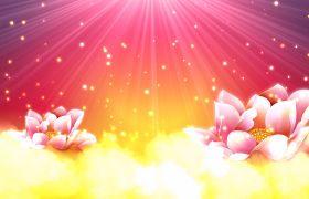 节日素材-金色典美动态粒子莲花花开节日盛典视频背景