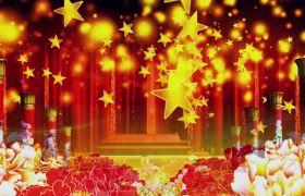 节日素材-喜庆金色五角星花开富贵节日庆典背景视频