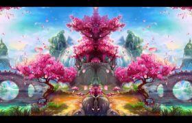 自然風光-粉系花朵飄舞唯美桃花島自然風光背景視頻