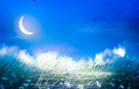 自然風光-藍色背景下唯美月色湖水淡雅自然風景視頻素材