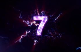倒計時素材-紫色閃電震撼10秒開場倒計時讀秒視頻