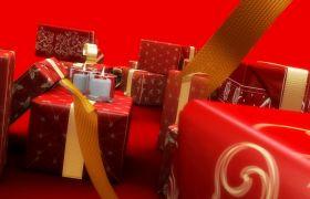 节日素材-圣诞红色蜡烛礼盒节日典美视频背景素材