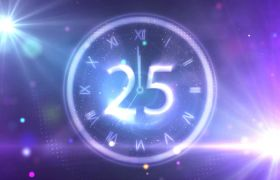 倒計時素材-紫色閃光光線鐘表背景30秒唯美倒計時背景視頻