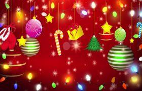 节日素材-白色雪花圣诞球视频圣诞元素礼物视频背景