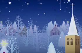 舞台素材-唯美圣诞卡通圣诞小屋风景淡雅舞台背景视频