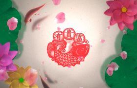 节日素材-喜庆中式元素年年有鱼荷花动态流水视频背景
