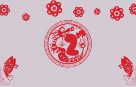 倒計時素材-紅色創意元旦剪紙中國風10秒倒計時開場視頻
