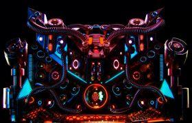酒吧素材-闪烁灯光动感机械感时尚晚会背景震撼视频素材